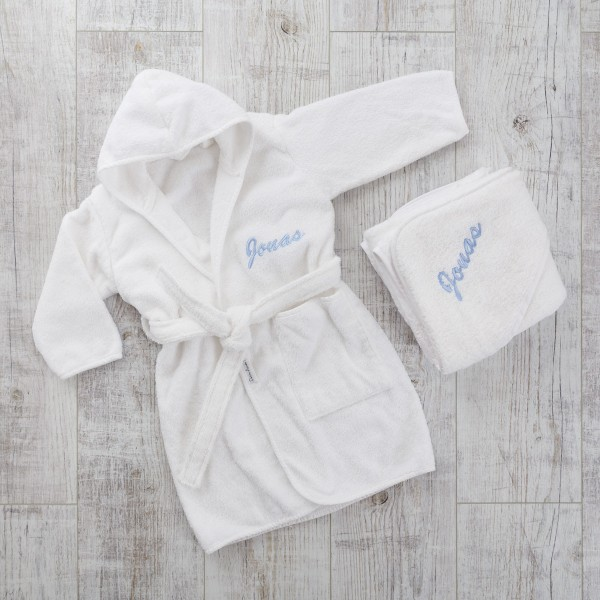 Bathrobe & Hooded Towel, White